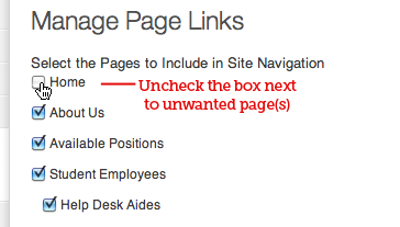 Manage Page Links page
